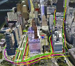 GPS traces of Downtown Manhattan urban canyons